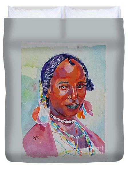 Face From Sudan  2 Duvet Cover by Mohamed Fadul