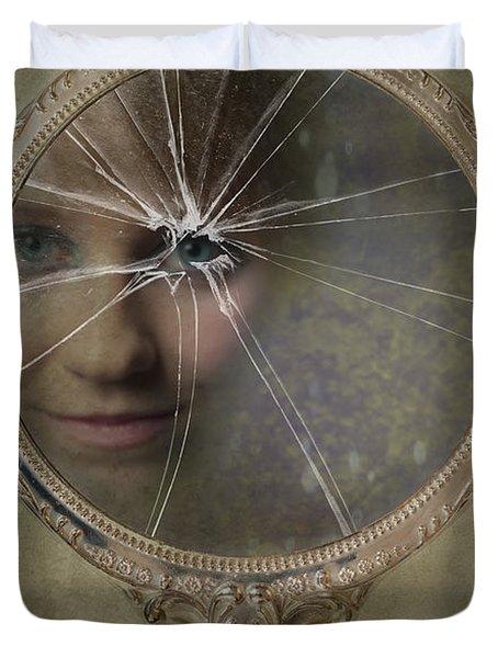Face In Broken Mirror Duvet Cover by Amanda Elwell