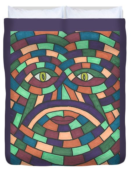 Face In The Maze Duvet Cover