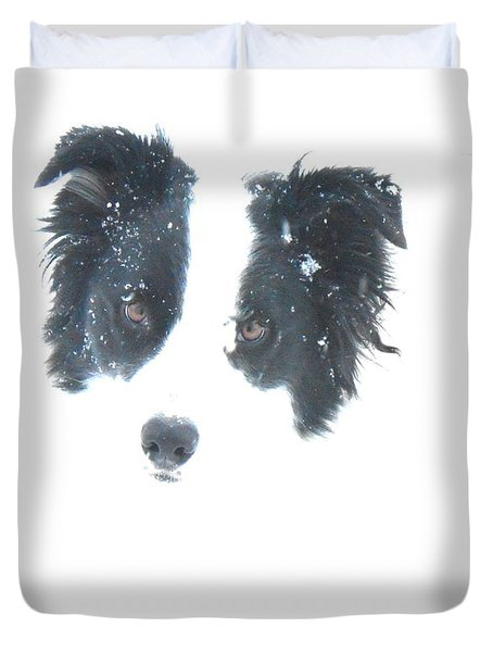 Face In The Snow Duvet Cover by Aliceann Carlton