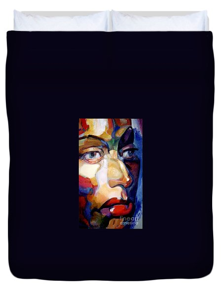 Duvet Cover featuring the painting Face Of A Woman by Stan Esson