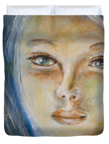Duvet Cover featuring the painting Face Of An Angel by Nik Helbig