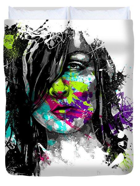 Face Paint 3 Duvet Cover by Jeremy Scott