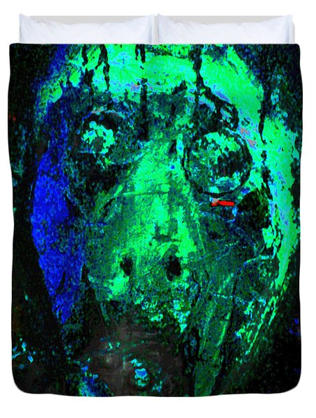 Duvet Cover featuring the painting Face Raped By The Media Three 2012 by Sir Josef - Social Critic - ART