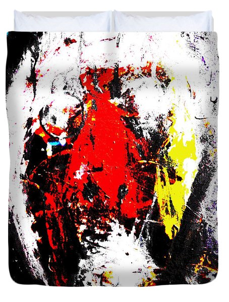 Duvet Cover featuring the mixed media Face Raped By The Media Two 2012  by Sir Josef - Social Critic - ART