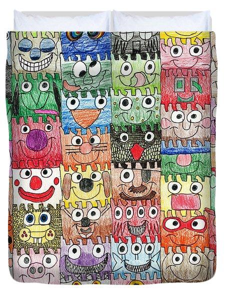 Faces Puzzle Poster Duvet Cover