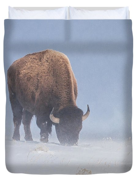 Duvet Cover featuring the photograph Faces The Blizzard by Jack Bell