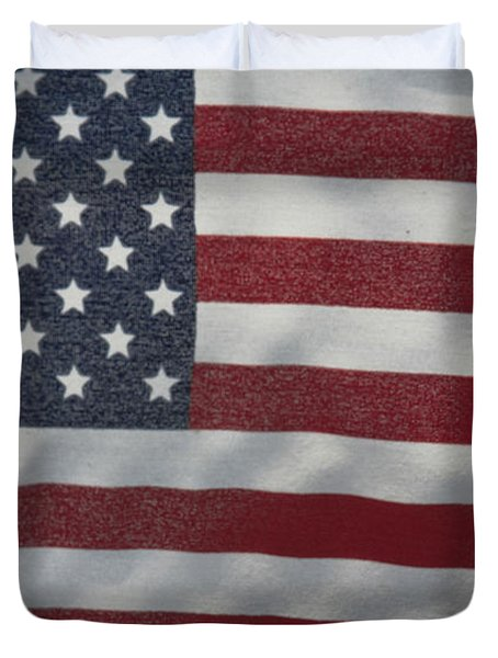 Duvet Cover featuring the photograph Faded Old Glory by Jerry Bunger
