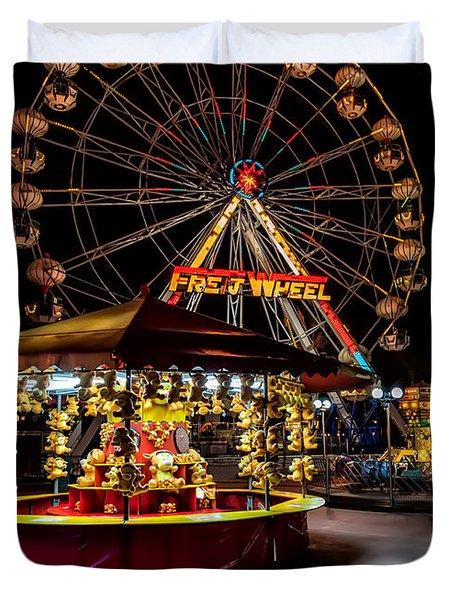 Fairground At Night Duvet Cover by Adrian Evans