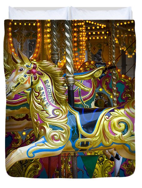 Duvet Cover featuring the photograph Fairground Carousel by Lee Avison