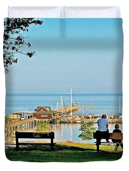 Fairhope Alabama Pier Duvet Cover by Michael Thomas