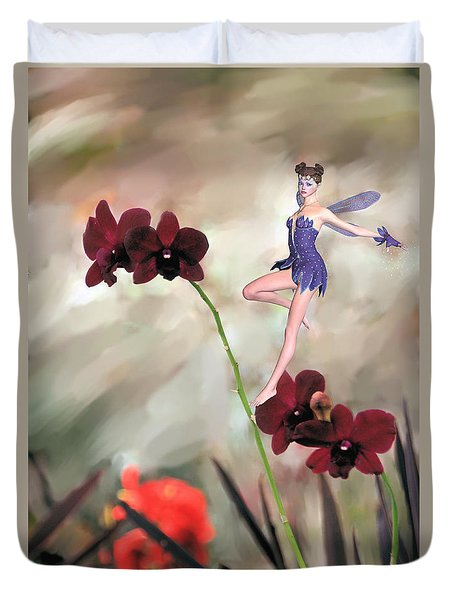 Duvet Cover featuring the photograph Fairy In The Orchid Garden by Rosalie Scanlon