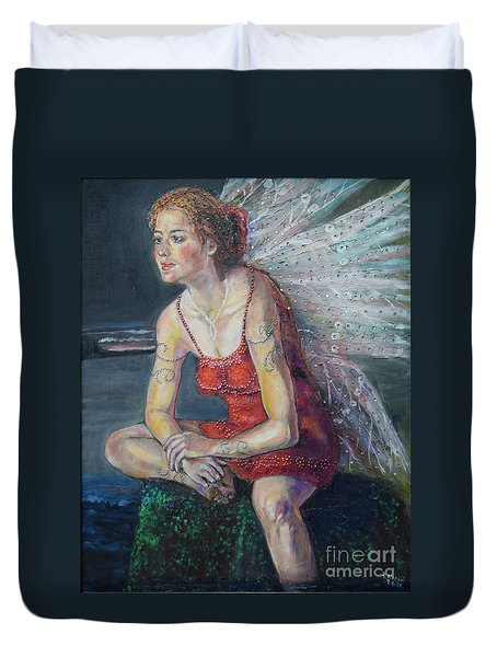 Fairy On A Stone Duvet Cover