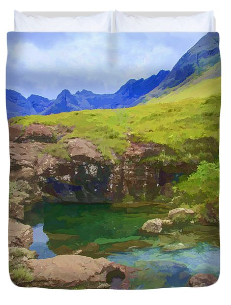 Fairy Pools Of Skye Watercolour Duvet Cover