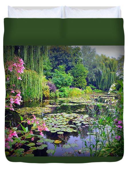 Fairy Tale Pond With Water Lilies And Willow Trees Duvet Cover