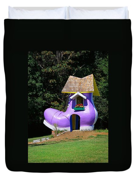 Fairy Tale Shoe House Duvet Cover by John Cardamone