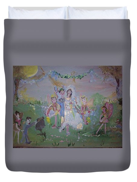 Duvet Cover featuring the painting Fairy Wedding by Judith Desrosiers