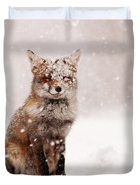 Fairytale Fox _ Red Fox In A Snow Storm Duvet Cover