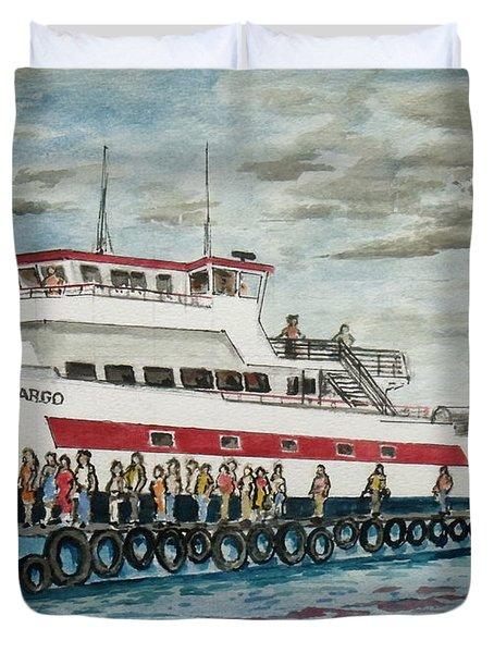 Fajardo Ferry From Vieques Puerto Rico Duvet Cover