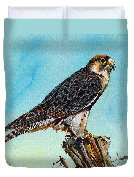 Duvet Cover featuring the painting Falcon On Stump by Anthony Mwangi
