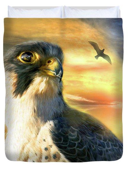 Falcon Sun Duvet Cover by Carol Cavalaris
