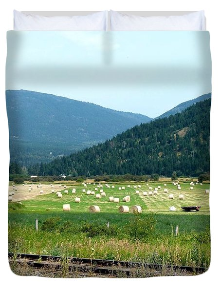 Falkland Hay Bales Duvet Cover by Will Borden
