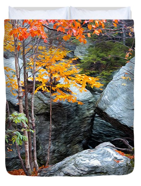 Duvet Cover featuring the photograph Fall Among The Rocks by Bill Howard