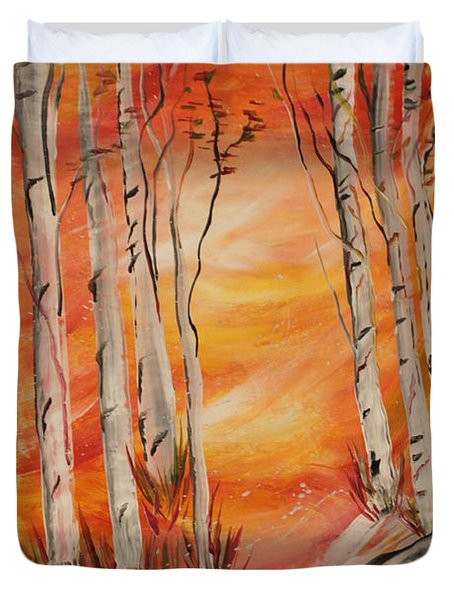 Duvet Cover featuring the painting Fall Aspen On Paper by Janice Rae Pariza