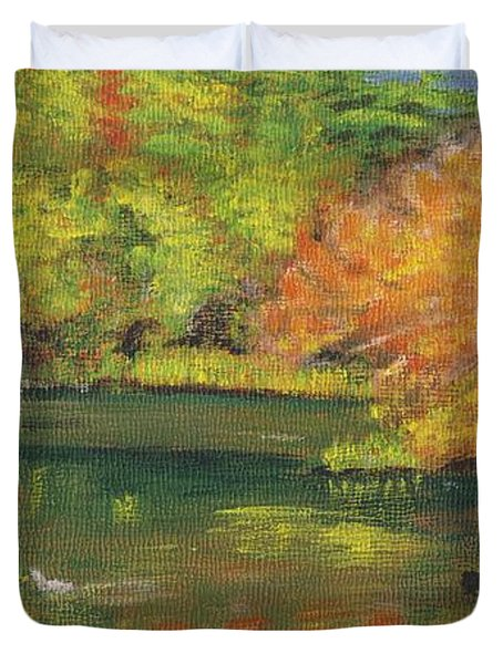 Duvet Cover featuring the painting Fall At Dorrs Pond by Linda Feinberg