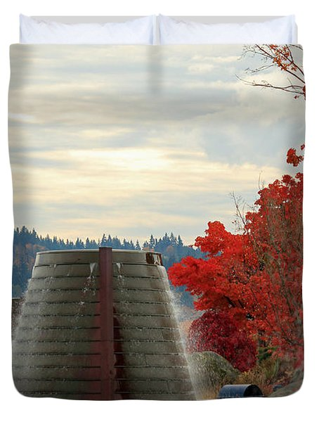 Harborside Fountain Park II Duvet Cover by E Faithe Lester