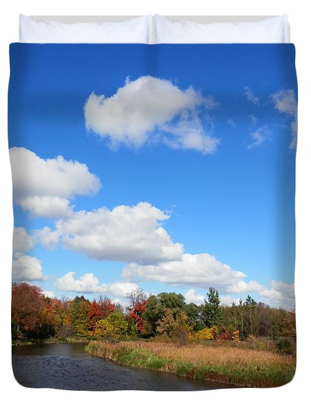 Fall At The Credit River Duvet Cover by Pema Hou