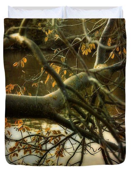 Fall At The Creek Duvet Cover by Ellen Heaverlo