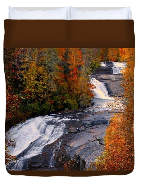 Fall At Triple Falls Duvet Cover
