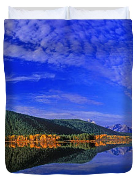 Duvet Cover featuring the photograph Fall Color Oxbow Bend Grand Tetons National Park Wyoming by Dave Welling