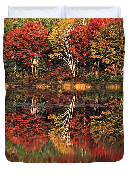 Duvet Cover featuring the photograph Fall Color Reflected In Thornton Lake Michigan by Dave Welling