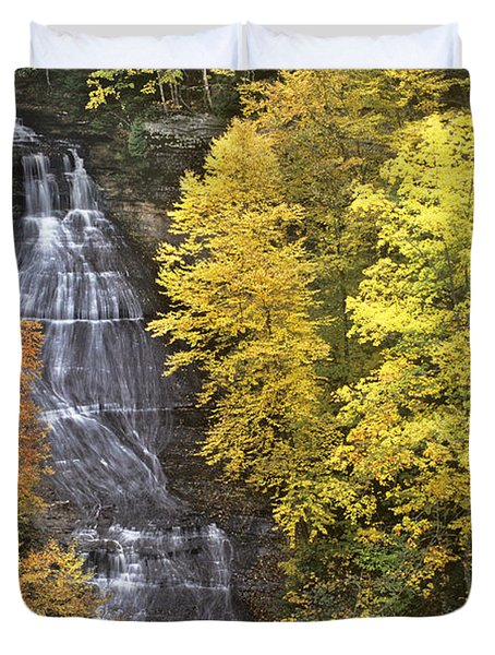Duvet Cover featuring the photograph Fall Color Surrounds Chapel Falls On The Michigan Upper Peninsula by Dave Welling