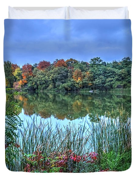 Fall Colors At Blue Hour Near Zegrze Duvet Cover by Julis Simo