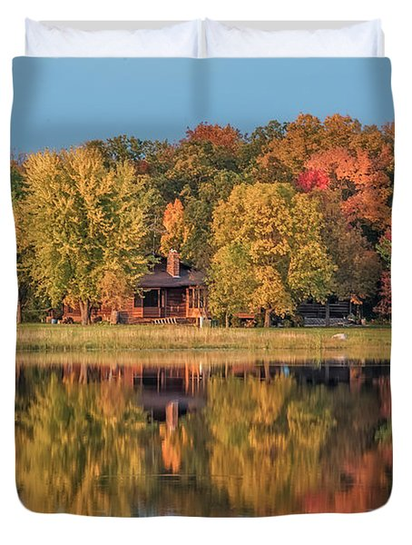 Fall Colors In Cabin Country Duvet Cover