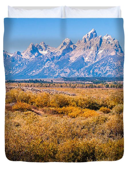 Duvet Cover featuring the photograph Fall Colors In The Tetons   by Lars Lentz