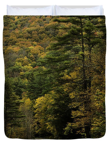 Fall Colors On Mohawk Trail Near Charlemont Duvet Cover