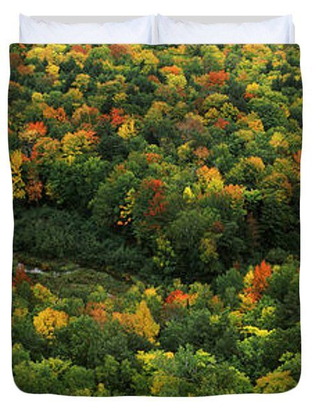 Fall Colors On Mountains Near Lake Duvet Cover