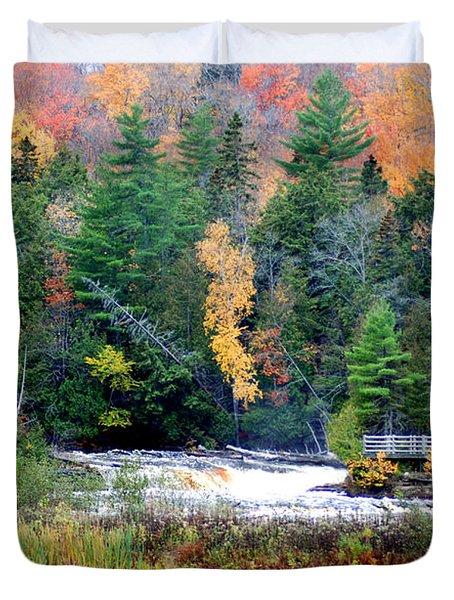 Fall Colors On The  Tahquamenon River   Duvet Cover by Optical Playground By MP Ray