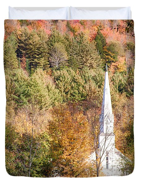 Fall Colors Over Vermont Church Duvet Cover