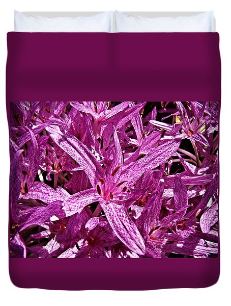 Duvet Cover featuring the photograph Fall Crocus by Nick Kloepping