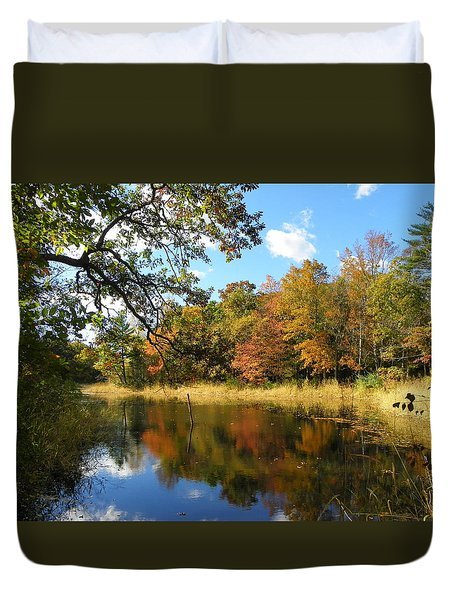 Fall Day On The Pond Duvet Cover