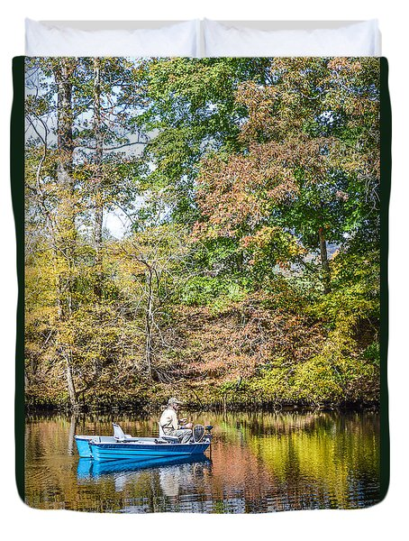Duvet Cover featuring the photograph Fishing Reflection by Debbie Green