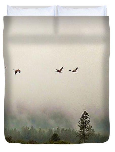 Duvet Cover featuring the photograph Fall Flight by Julia Hassett