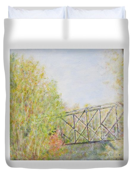 Fall Foliage And Bridge In Nh Duvet Cover