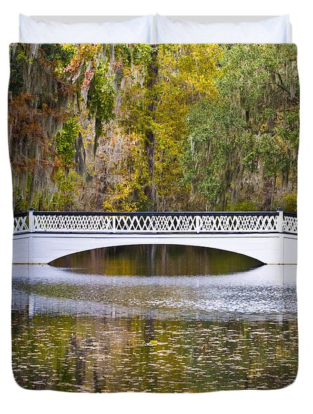 Fall Footbridge Duvet Cover by Al Powell Photography USA