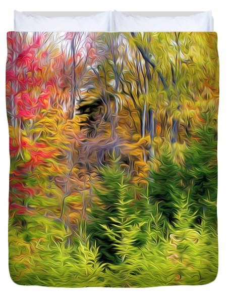 Fall Forest Foliage Duvet Cover by Lanjee Chee